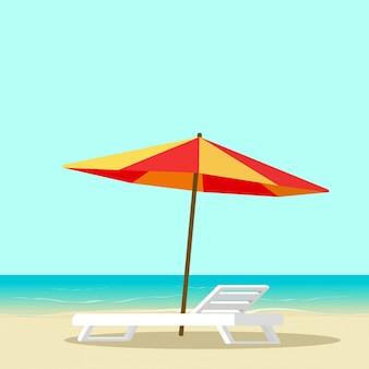 Tiri il salotto in secco con la sedia vuota vicino al fumetto piano dell'illustrazione di vettore dell'ombrello di sole e del mare