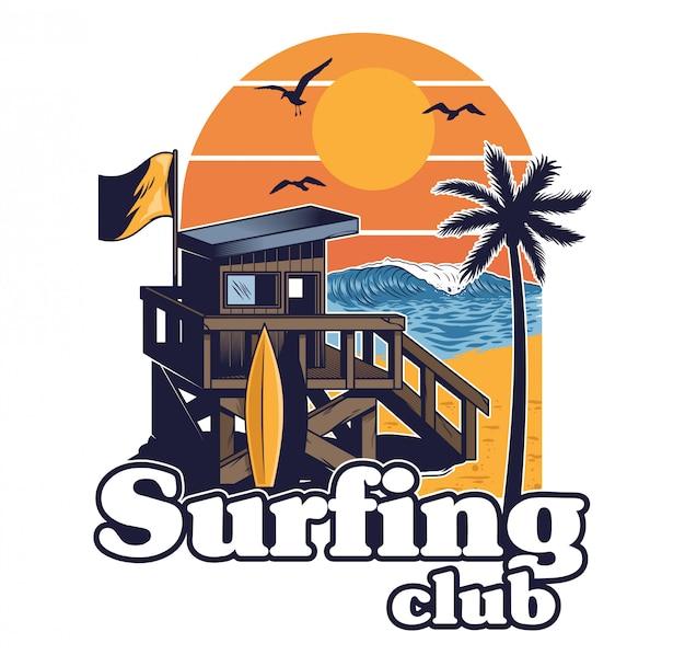 Tiri la casa in legno in secco del soccorritore della spiaggia del surf club nel retro stile d'annata con la palma dell'onda del tramonto dell'estate. illustrazione di cartone animato