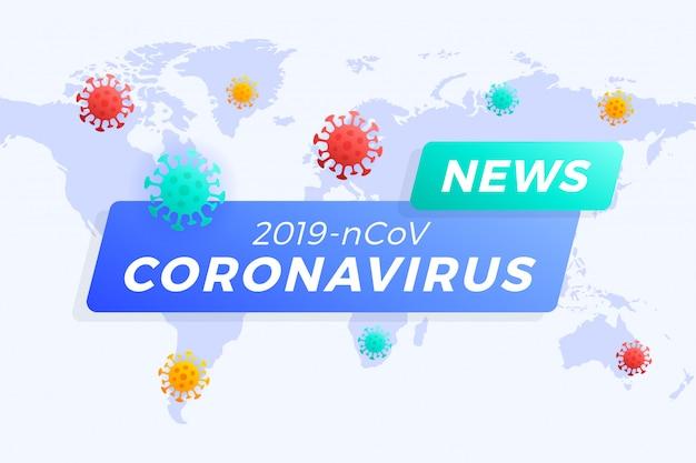 Titolo delle ultime notizie covid-19 o coronavirus nel mondo. coronavirus nell'illustrazione di wuhan.