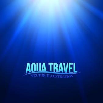 Titolo di viaggio aqua sull'ambiente sottomarino blu.
