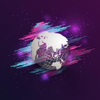 Titolo mappa del mondo astratto bianco sulla sfera della maglia con glitter su sfondo viola sfumato rosa.
