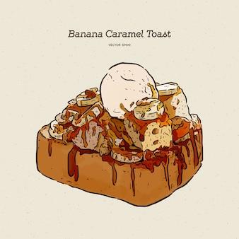 Toast al caramello alla banana con gelato, schizzo a mano.