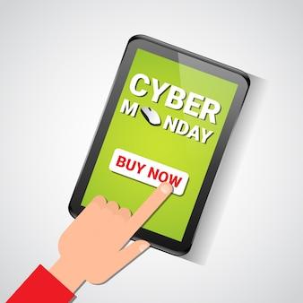Tocco della mano acquista ora il pulsante sulla tavoletta digitale con il messaggio di vendita del cyber monday