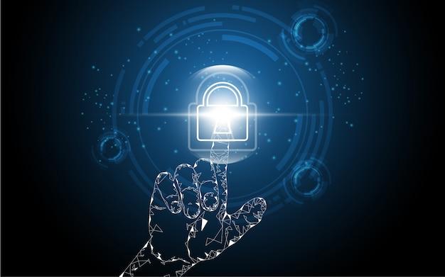 Tocco della mano sulla serratura di sicurezza