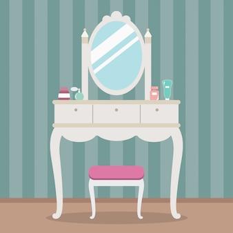 Toilette vintage con specchio, tavolo, sedia e cosmetici. illustrazione vettoriale stile piano