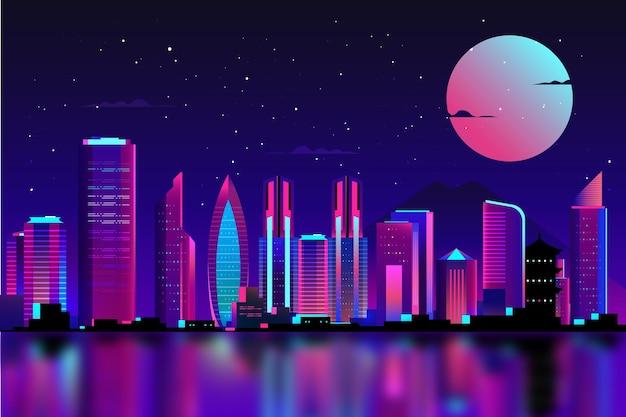 Tokyo in luci al neon con la luna piena