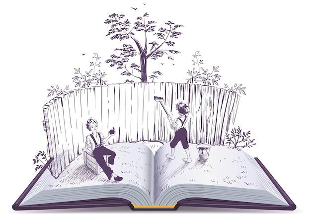 Tom sawyer dipinge l'illustrazione di libro aperto del recinto