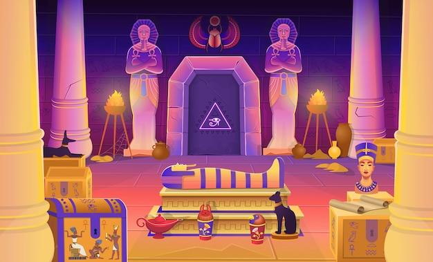 Tomba del faraone egiziano con sarcofago, cassapanche, statue del faraone con l'ankh, una statuina di gatto, colonne e una lampada. illustrazione del fumetto per i giochi.