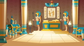Tomba di faraone con sarcofago dorato, statue di divinità con teste di animali, colonne