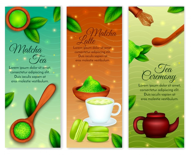Tono di terra verde realistico verticale in polvere di matcha con accessori per dolci da cerimonia del tè al latte