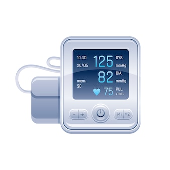 Tonometro. dispositivo medico per il controllo della pressione arteriosa. illustrazione di vettore del controllo dell'ipertensione.