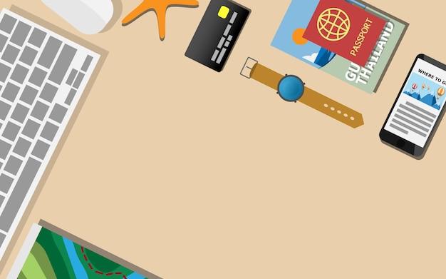 Top-down vista piana del tavolo scrivania con copia spazio per il testo
