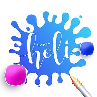 Top view ciotole piene di colori in polvere con pistola a colori su colonna blu