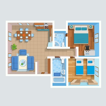 Top view flat interior plan