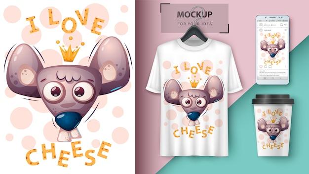 Topo di formaggio, illustrazione di ratto