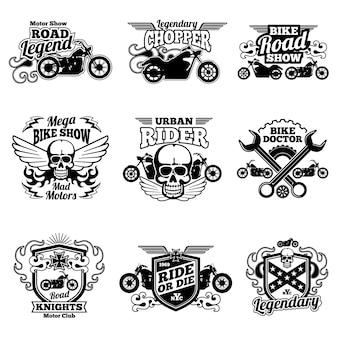Toppe di vettore dell'annata club moto. emblemi ed emblemi di corse motociclistiche