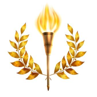 Torch e laurel wreath