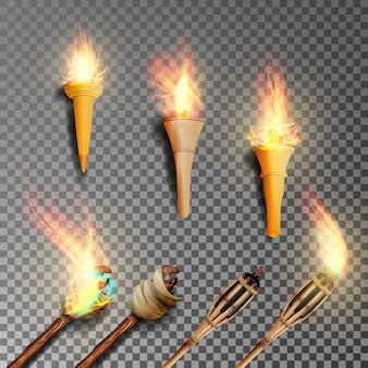 Torcia con fiamma impostata su sfondo scuro trasparente