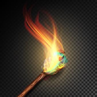 Torcia con fiamma su sfondo scuro trasparente