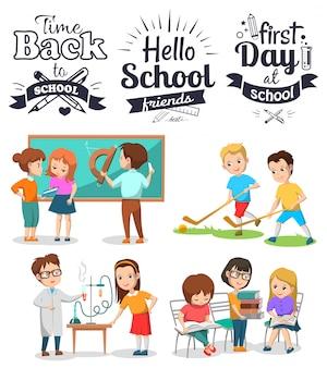 Torna a badge scolastici e set di illustrazioni