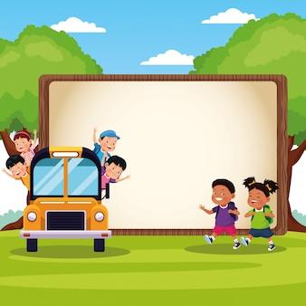 Torna a cartoon bambini di scuola