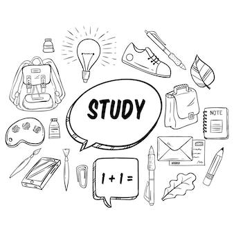 Torna a materiale scolastico o collezione di elementi con stile disegnato a mano