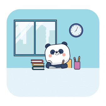 Torna a panda di educazione scolastica con libro e matite