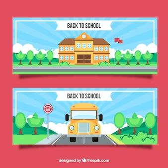 Torna a scuola banner con autobus e costruzione