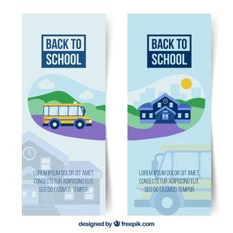 Torna a scuola banner con autobus e scuola