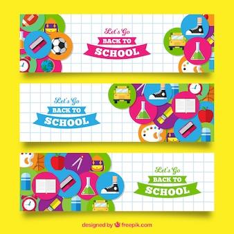 Torna a scuola banner con design piatto