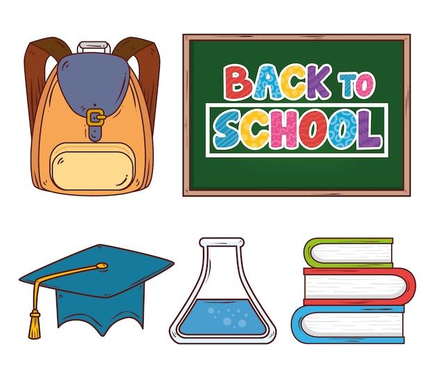 Torna a scuola banner con lavagna e set di icone di forniture di istruzione