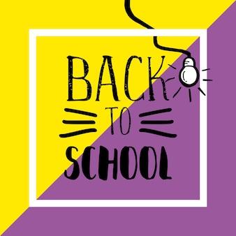 Torna a scuola banner con tipografia disegnata a mano e lampadina su sfondo pastello incisivo.