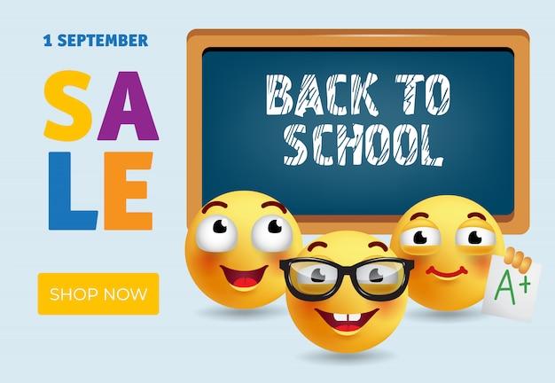 Torna a scuola banner design di vendita con le emozioni dei cartoni animati intelligenti