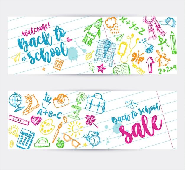 Torna a scuola banner design promozionale.