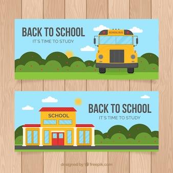 Torna a scuola banner in stile piatto
