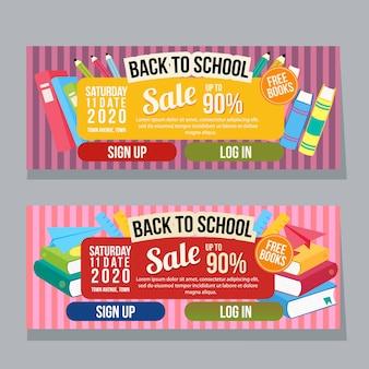 Torna a scuola banner orizzontale modello di libri stile piano