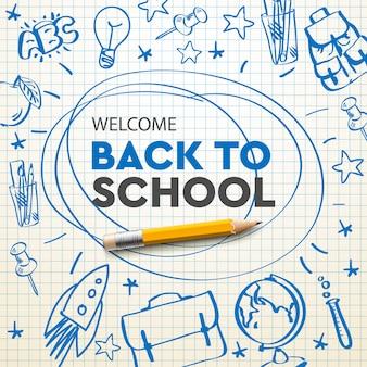 Torna a scuola banner, scarabocchio su sfondo di carta a scacchi, illustrazione.