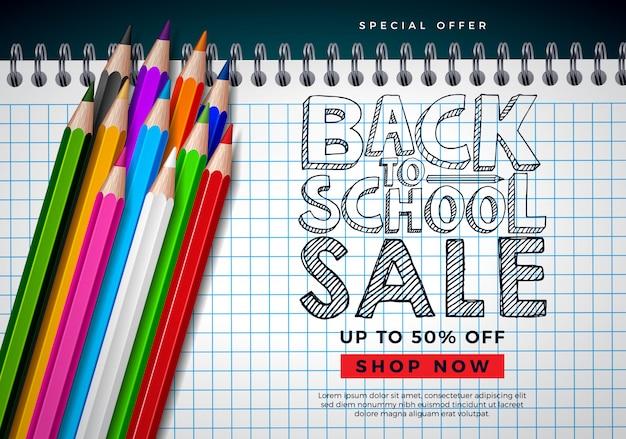 Torna a scuola banner vendita con matita colorata e tipografia lettera sulla griglia quadrata