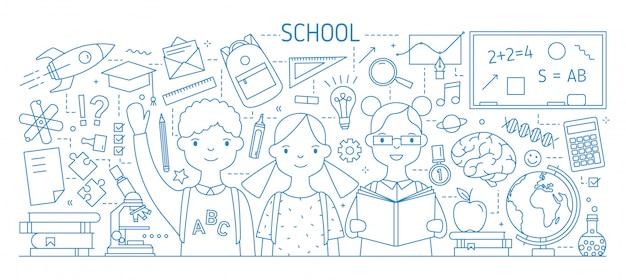 Torna a scuola banner web orizzontale con bambini sorridenti o allievo, libri di testo, articoli di cancelleria disegnati con linee di contorno