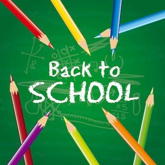 Torna a scuola con matite colorate sopra il vettore di lavagna