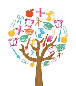 Torna a scuola design albero su sfondo bianco