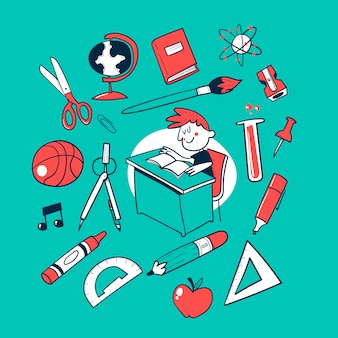 Torna a scuola doodle vector collection
