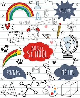Torna a scuola doodles su sfondo di carta
