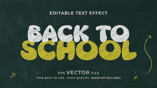 Torna a scuola effetto di testo modificabile gesso