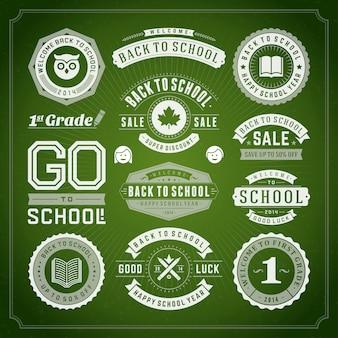 Torna a scuola elementi vendita etichette e distintivi set