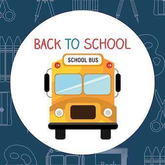 Torna a scuola etichetta con autobus