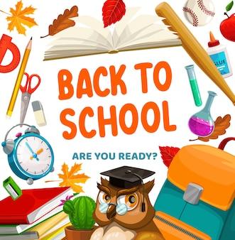 Torna a scuola, gufo e cartoleria per studenti