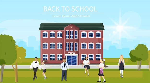 Torna a scuola i bambini che gestiscono l'ingresso. riproduzione di stili piatti per bambini felici all'aperto