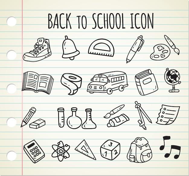 Torna a scuola icona doodle a tema