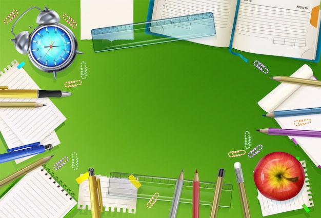 Torna a scuola illustrazione della cancelleria di educazione su sfondo verde.